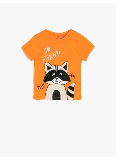 Koton Kids Yazılı Baskılı T-Shirt Oranj